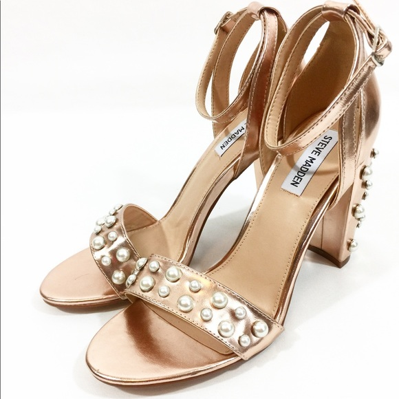 f4e0af59e63 Steve Madden Rose Gold Heels with Pearl detail 9.5